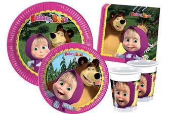 (8 persone, Masha and The Bear) - Ciao Y2522 Masha and the Bear party table kit for 8 people (44 items: 8 x large plates, 8 x medium plates, 8 cups, 20 napkins)
