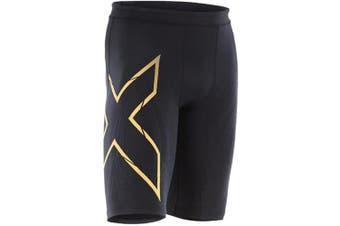 (Large, Black/Gold) - 2XU Men's MCS Run Compression Shorts