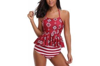 (UK ( 12-14 ), Redks) - AYEABUY Women's Plus Size Floral Halter Tankini Set with Boyshort High Waist Swimsuit Bikini