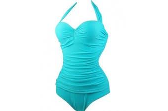 (Small, Sky Blue) - ABYOXI Women's One Piece Swimsuit Push Up Solid Colour Bikini Sandy Beach Swimwear S-3XL