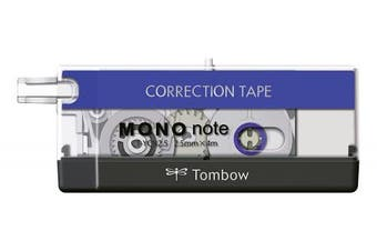 (black, white, blue, Individual) - Tombow 2.5 mm x 4 m CT-Mono Correction Note Roll - Black/Blue/White