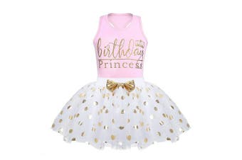 (3-4 Years, Pink) - CHICTRY Toddler Little Girls Fancy Sequin Polka Dots Birthday Outfit Racer-Back Shirt with Mesh Tutu Skirt Set