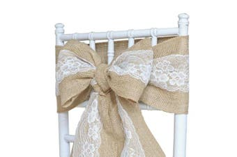 "(100) - 100pcs, 7"" x 108"" (18cm x 274cm) Vintage Hessian Sashes Chair Cover Bows with White Lace Natural Burlap Rustic Shabby Sewed Edge Wedding Reception Home Garden Party Decoration by Trimming Shop"