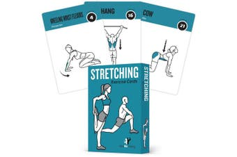 Exercise Cards Stretching Flexibility - 50 Stretching Exercises – Increase Flexibility – Prevent Muscle Strains, Promote Circulation + Speed Up Recovery Time - Large, Durable Cards