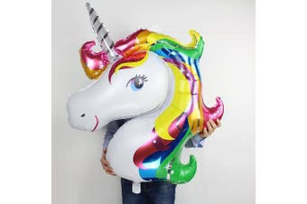 Rainbow Unicorn Shape Mylar/Foil Balloon With a pair of Curly Ribbon By Ten Tree
