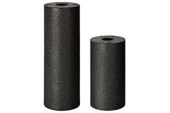 (Black) - BODYMATE 30cm long STANDARD medium-hard smooth foam roller with .