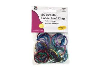 Charles Leonard Loose Leaf Rings, 2.5cm Diameter, Metallic Assorted Colours, 50 per Bag, 1 Bag (85000)