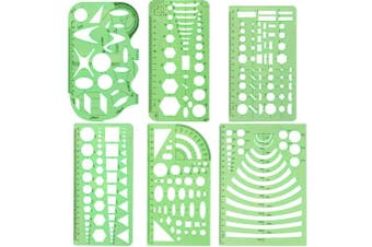 COCODE Set of 6 Plastic Geometric Stencils Measuring Templates for Office and School, Building Formwork, Drawings Drafting Templates, Clear Green Colour