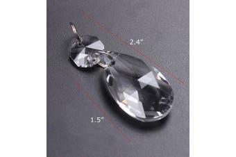 (38mm, Clear-38mm) - BIHRTC 12Pcs38mm Clear Crystal Teardrop Chandelier Prisms Parts Hanging Galss Crystal Pendants Beads +50pcs Metal Split Ring + 50pcs 14mm Octagonal Beads