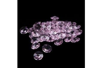 (38mm, Pink) - BIHRTC 12Pcs 38mm Galss Crystal Teardrop Chandelier Prisms Parts Hanging Galss Crystal Pendants Beads +50pcs Metal Split Ring + 50pcs 14mm Octagonal Beads (Pink)