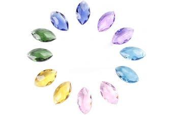 (38mm, Colorful-Mariquesa) - BIHRTC Pack of 12 Mariquesa Horse Eye Mixed Colours Crystal Beads Drops Chandelier Pendants Prisms Suncatcher Curtain DIY Parts Window Hanging Ornament Decoration (3.8cm , 6 Different Colour)