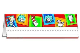 Eureka Dr Seuss Cat in the Hat Teacher Supplies Stand Up Tented Name Plates, 36 pcs, 9.5'' x 6.5''