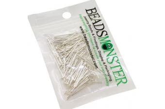 (18mm, Silver) - BeadsMonster 18mm Silver Plated Headpins for Jewellery Making, 15g, around 170-180pcs