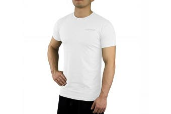 (Small, White) - Contour Athletics Nomad Men's Running Shirt Gym Workout Shirt White Small