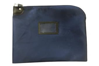 (Navy Blue) - Locking Document HIPAA Bag 15 x 19 | Medical File Security | Legal Size Records Courier Bag (Navy Blue)