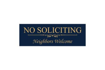 (7.6cm  x 23cm  - Large, Blue / Gold) - Basic No Soliciting Neighbours Welcome Sign - Blue/Gold Large