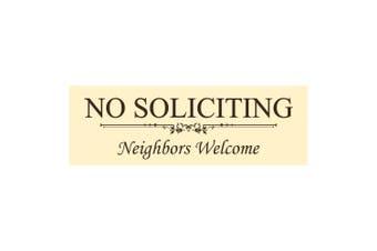 (5.1cm  - 1.3cm  x 18cm  - Medium, Ivory / Dark Brown) - Basic NO SOLICITING Neighbours Welcome Sign - Ivory / Dark Brown Medium