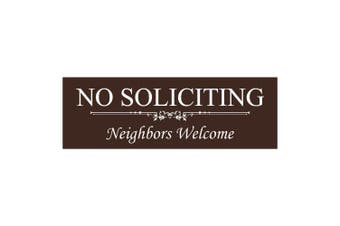 (7.6cm  x 23cm  - Large, Dark Brown) - Basic NO SOLICITING Neighbours Welcome Sign - Dark Brown Large