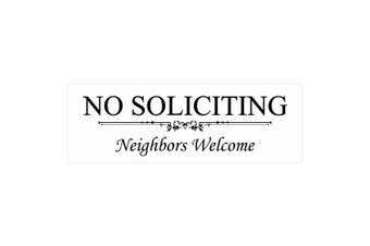 (7.6cm  x 23cm  - Large, White) - Basic NO SOLICITING Neighbours Welcome Sign - White Large