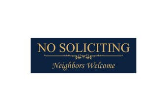 (5.1cm  x 15cm  - Small, Blue / Gold) - Basic NO SOLICITING Neighbours Welcome Sign - Blue / Gold Small