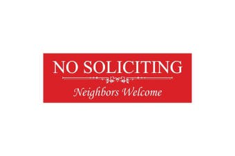(5.1cm  x 15cm  - Small, Red) - Basic NO SOLICITING Neighbours Welcome Sign -Red Small