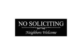 (7.6cm  x 23cm  - Large, Black) - Basic NO SOLICITING Neighbours Welcome Sign - Black Large
