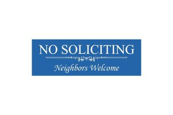 (5.1cm  x 15cm  - Small, Blue) - Basic NO SOLICITING Neighbours Welcome Sign - Blue Small