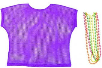 (Large, Purple) - BFD One Ladies Neon '80s Mesh Fishnet Top Free Neon Necklaces Loose Fit Medium Large and XL In Pink Orange Yellow Blue Purple and Black. Wash In Cold Water. 1980s Rave T Shirt Punk Rock