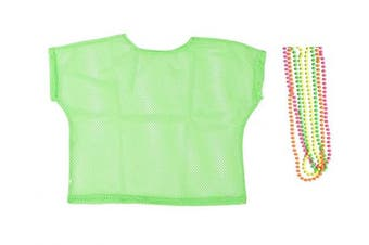 (XL, Green) - BFD One Ladies Neon '80s Mesh Fishnet Top Free Neon Necklaces Loose Fit Medium Large and XL In Pink Orange Yellow Blue Purple and Black. Wash In Cold Water. 1980s Rave T Shirt Punk Rock