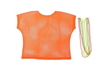 (XL, Orange) - One BFD Ladies Neon '80s Mesh Fishnet Top Loose Fit. 1980's rave t shirt punk rock fancy dress with free neon beads
