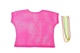 (Large, Pink) - BFD One Ladies Neon '80s Mesh Fishnet Top Free Neon Necklaces Loose Fit Medium Large and XL In Pink Orange Yellow Blue Purple and Black. Wash In Cold Water. 1980s Rave T Shirt Punk Rock