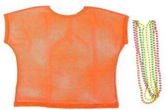 (Medium, Orange) - BFD One Ladies Neon '80s Mesh Fishnet Top Free Neon Necklaces Loose Fit Medium Large and XL In Pink Orange Yellow Blue Purple and Black. Wash In Cold Water. 1980s Rave T Shirt Punk Rock