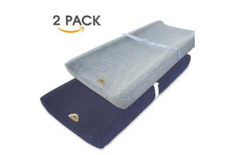 (gray+navy) - Ultra Soft and Stretchy Changing Pad Cover 2pk by BlueSnail (Grey+Navy)