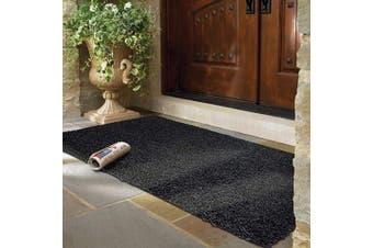 (60x100 cm, Black & Grey) - mayshine Non-slip Door Mat Cotton Doormat Mud Dirt Trapper Mats Entrance Rug Shoes Scraper Floor Indoor - 60x100 cm Black & Grey