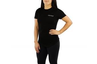 (Medium, Black) - Contour Athletics Nomad Women's Running Top Active Workout Shirt Black Medium