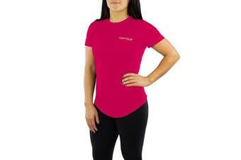 (Large, Pink) - Contour Athletics Nomad Women's Running Top Active Workout Shirt Pink Large
