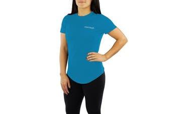 (Medium, Sky Blue) - Contour Athletics Nomad Women's Running Top Active Workout Shirt SkyBlue Medium