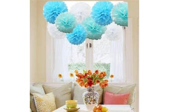A LIITTLE TREE 9/12 Pcs Mixed Tissue Paper Pompoms Pom Poms Hanging Garland Wedding Party Decor by (Sky Shade)