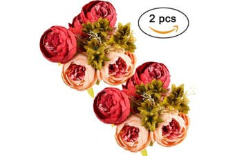 (Dark Pink X2) - Ogrmar Vintage Artificial Peony Silk Flowers Bouquet for Decoration (Dark Pink x2)