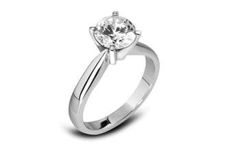 (K, 0.15 carats) - Abelini 18K White Gold Certified I1/HI 100% Natural Round Diamond Solitaire Engagement Rings(Available in 0.10 - 1.00CT)