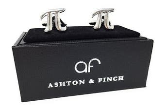Ashton and Finch Pi Symbol Maths Cufflinks in a FREE Luxury Presentation Box. Novelty Maths Theme Jewellery