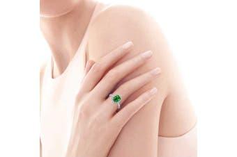 (Q) - Bonlavie 925 Sterling Silver Emerald Cut Emerald Cubic Zirconia CZ Halo Engagement Wedding Rings for Women