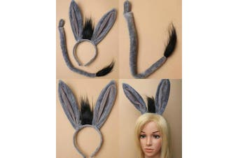 ALANNAHS ACCESSORIES Donkey Ears Aliceband And Tail Set Fancy Dress Up