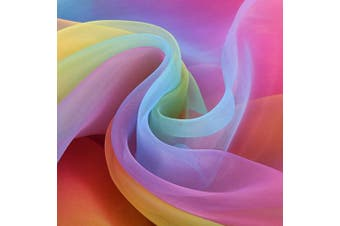 (Rainbow Color) - 4.9m by 140cm Rainbow Organza Multicoloured Voile Dress Fabric Fancy Costumes Decorations