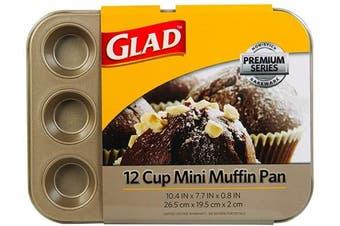 (Mini 12-Cup) - Glad Cupcake and Muffin Pan – Premium Non-Stick Oven Bakeware, Whitford Gold, Mini 12-Cup