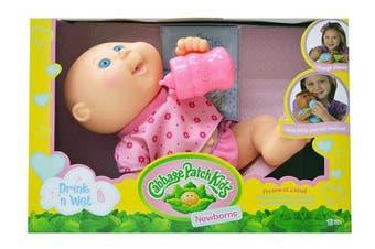 Cabbage Patch Kids Drink N' Wet Newborn Purple Butterflies Baby Doll, 28cm