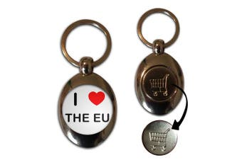 I love The Eu - Shopping Trolley Coin Key Ring
