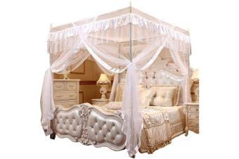 (Full, White) - Mengersi Princess 4 Corners Post Bed Curtain Canopy Mosquito Net Princess Canopies (White, Full)