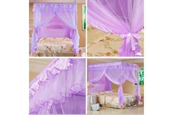 (Full, Purple) - Mengersi Princess 4 Corners Post Bed Curtain Canopy Netting Bedroom Decoration(Purple, Full)