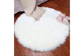 (diameter 60cm, White) - THEE Soft Round Artificial Sheepskin Rug Chair Cover Floor Mat Area Rugs Home Decor